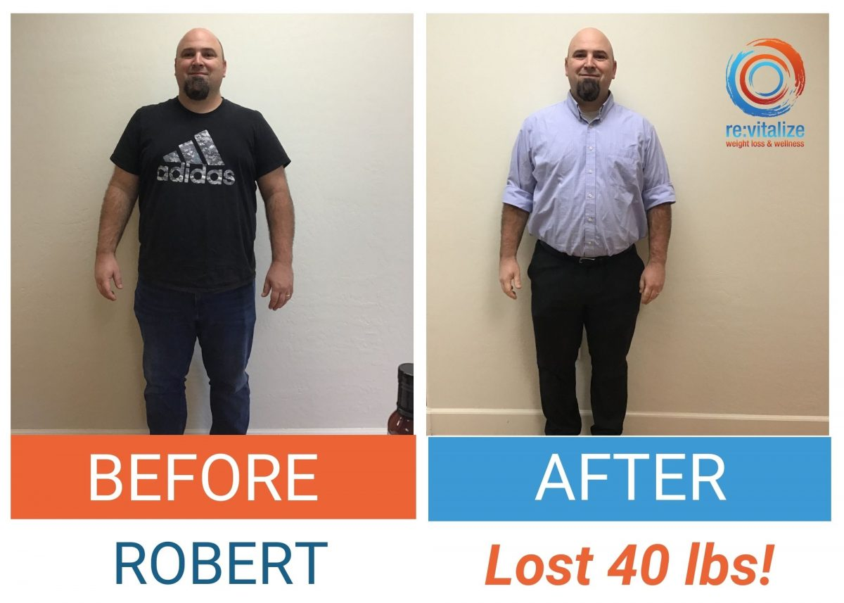 Before and after photo of Robert losing 40 pounds. In the left photo he is wearing a black Adidas shirt and dark pants and in the right photo he is wearing a blue button up shirt with dark pants.