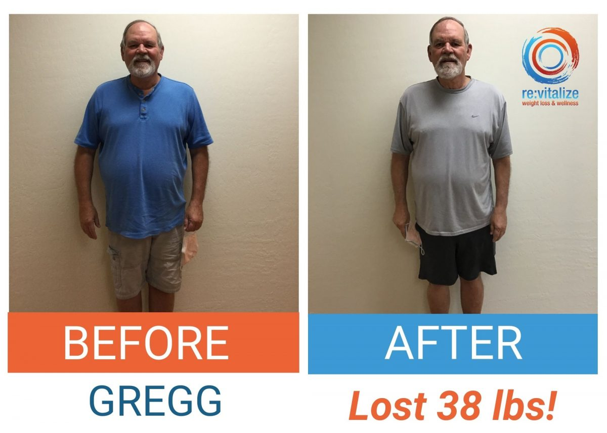 Before and after photo of Gregg after losing 38 pounds. He is wearing a blue shirt and light shorts in the left photo and a grey shirt with dark shorts in the right photo.