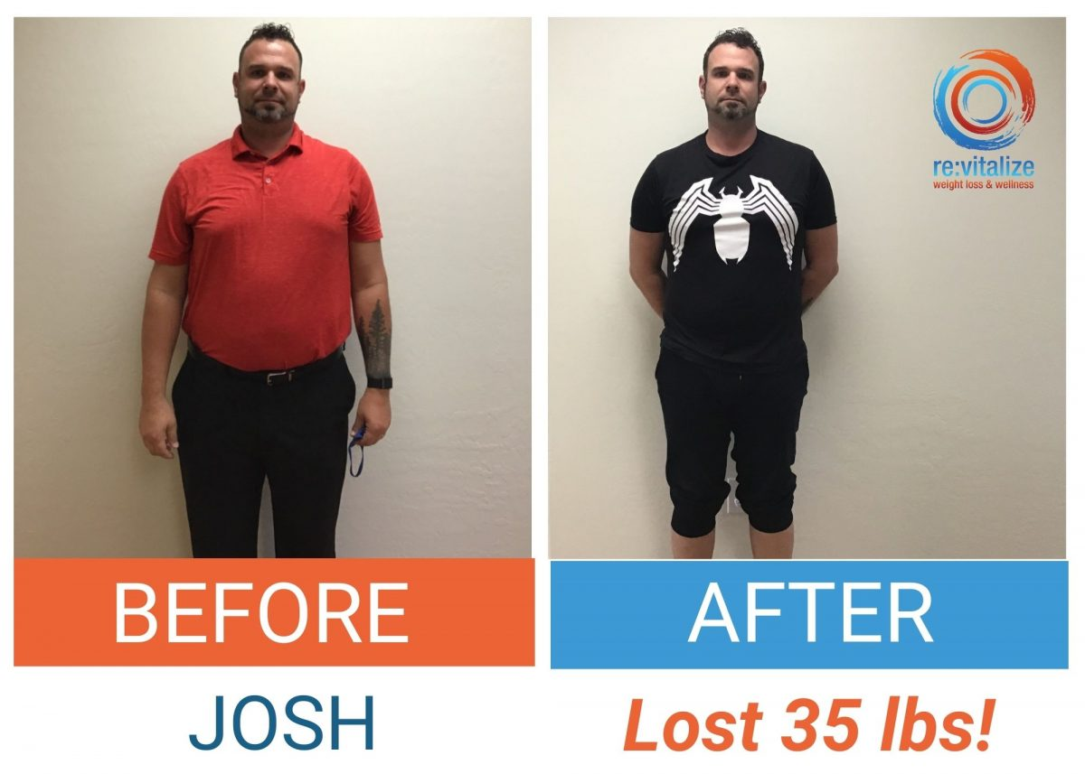 Before and after photos of Josh after he lost 35 pounds. On the left he is wearing an orange shirt and slacks and on the right he is wearing a black shirt and pants.